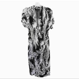 NWT Karen Kane tropical print dress, black/white